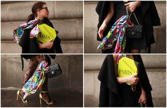 frassy blogger scarf tights printed scarf polka dots t-shirt