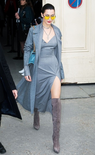 dress grey grey dress bella hadid streetstyle boots over the knee slit dress coat model off-duty sunglasses fashion week 2017 paris fashion week 2017 monochrome outfit monochrome