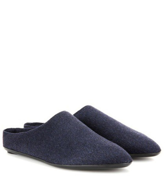 The Row Bea Cashmere Slippers in blue
