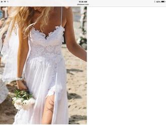 dress beach dress white lace wedding prom