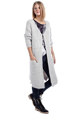 Q2 women's light grey cardigan in supersoft fabric at amazon women's clothing store:
