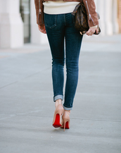 shoes,tumblr,pochette metis,louis vuitton,louis vuitton bag,denim,jeans,blue jeans,skinny jeans,cuffed denim shorts,pumps,pointed toe pumps,high heel pumps,nude heels,louboutin