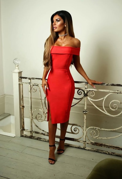 dress red bardot bodycon midi