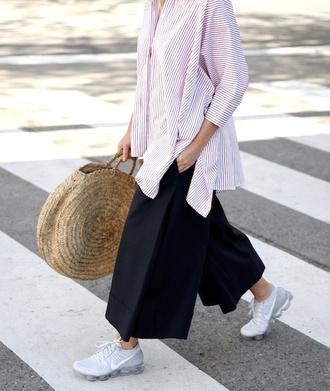 le fashion image blogger sunglasses shirt bag pants basket bag sneakers nike