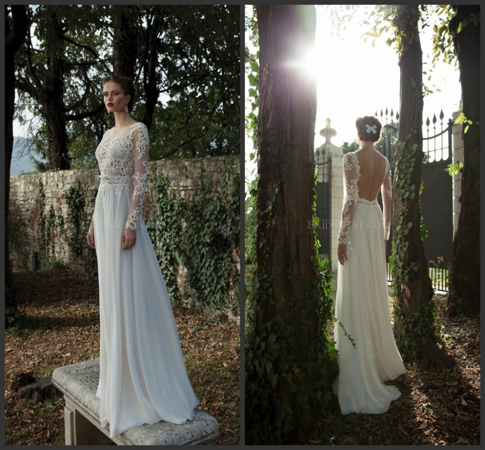 New vestido de noiva Berta Bridal Uniques Sheer A Line Sweep Train Appliques Cap Sleeve Full Natural Lace Backlesswedding dress-in Wedding Dresses from Apparel & Accessories on Aliexpress.com