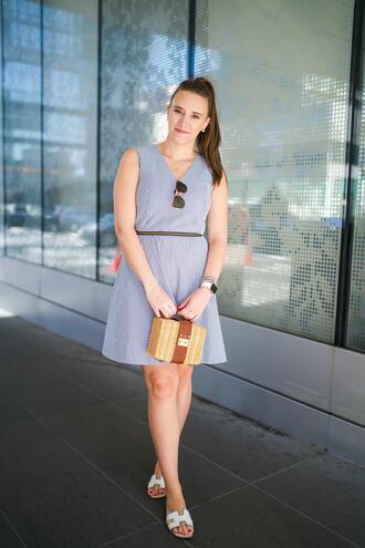 covering bases curvy blogger dress shoes bag sunglasses jewels blue dress mini dress sandals