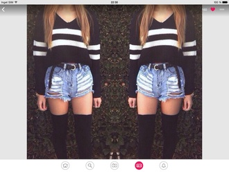 top black white jeans trendy striped shirt sweater