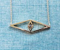 NEW Geometric Shape Blue Evil Eye Gold Pendant Chain Necklace 18 inches Fashion