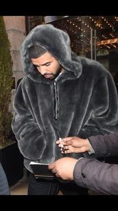 sweater,drake,hoodie,faux fur jacket,jacket