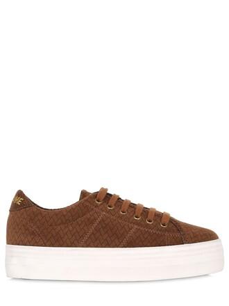 sneakers platform sneakers velvet light brown shoes
