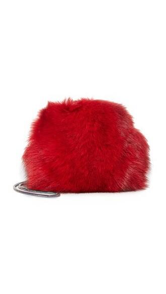 mini fur love bag mini bag red