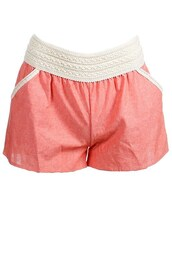 shorts,coral linen shorts with lace detail