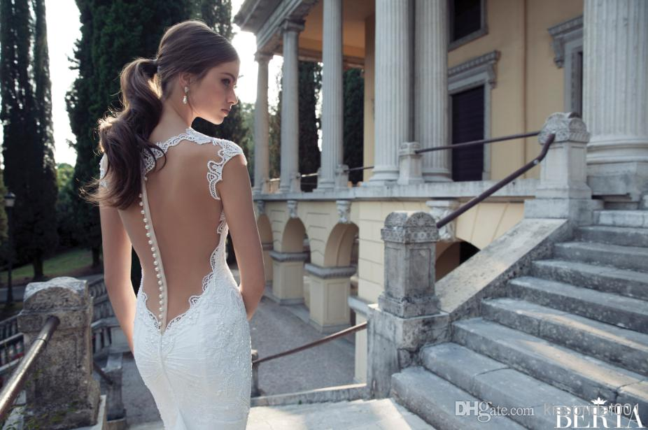 Wholesale Backless Wedding Dresses - Buy 2014 Distinctive Lace Sheer Backless Berta Bridal Gowns Applique Sexy Deep V Neck Cap Sleeves Sweep Train Formal White Wedding Dresses, $139.19 | DHgate