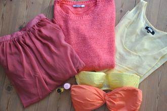 t-shirt skirt white pink yellow orange lovely sweater blouse bikini pink sweater blouze beige
