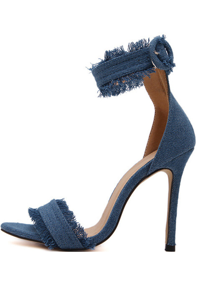 Light Blue Open Toe Stiletto Heel Sandals