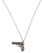 jewels,gun necklace,silver