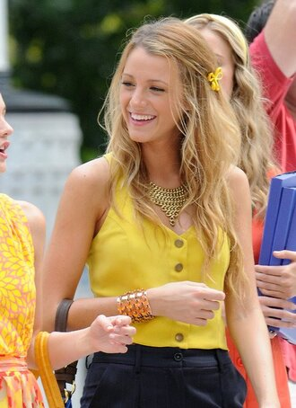 shirt gossip girl yellow top serena van der woodsen blake lively