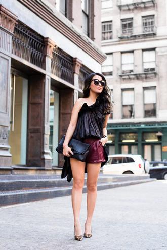 top sunglasses tumblr black top one shoulder asymmetrical asymmetrical top shorts leather shorts pumps pointed toe pumps bag black bag shoes