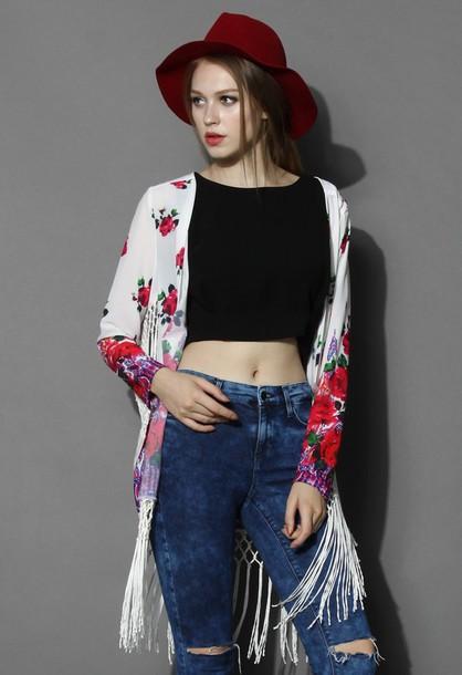 top chicwish fringed kimono retro rose