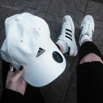 hat adidas shoes adidas shoes adidas hat black white fashion grunge tumblr nails tumblr outfit cap
