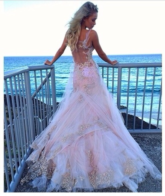 dress white wedding dress bride blush pink beautiful