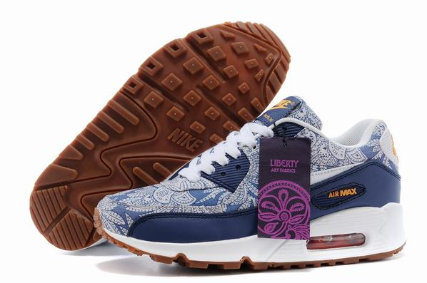 Ladies nike air max 90 liberty of london blue running trainers [buytheaprinttrainers901]