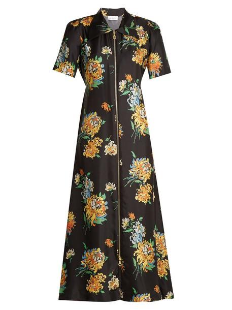 Raey dress zip print silk black
