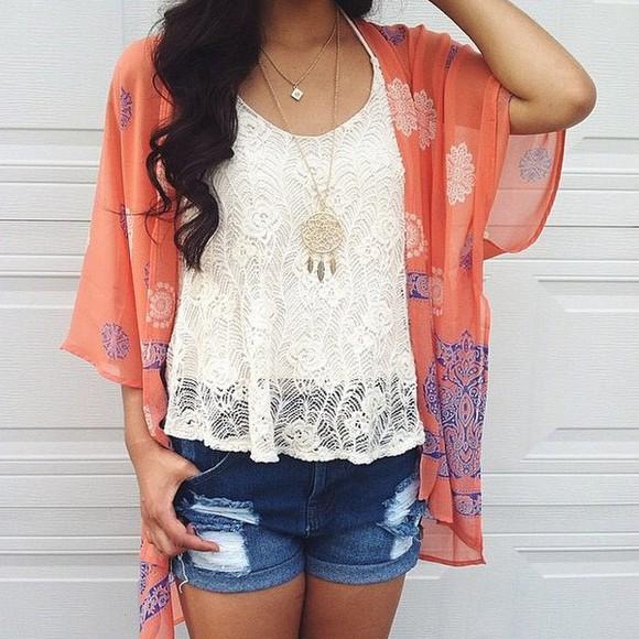 orange blouse kimono peach