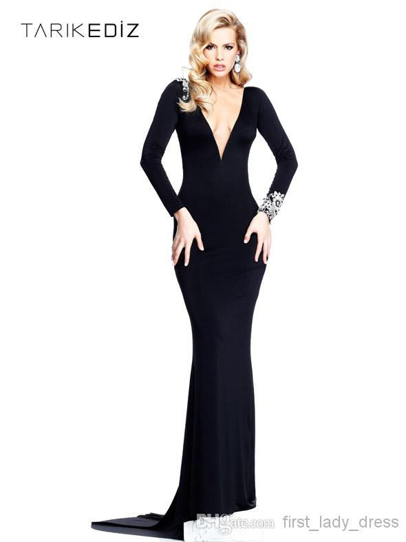 Discount Tarik Ediz Sexy Sheath Long Sleeve V Neck Sexy Formal Evening Dresses Beads Sweep Train High Quality Sexy Black Prom Dress Evening Gown Online with $106.99/Piece | DHgate