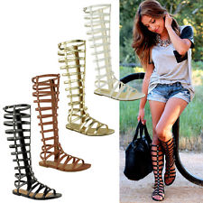 Womens Knee High Gladiator Sandals CUT OUT Flat Strappy Summer ...