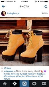 timberland inspired heels,timberland inspired,wheat timberlands,platform high heels,fall booties,timberland boots shoes,timberland heels