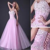 dress,prom,pink,corset,prom dress