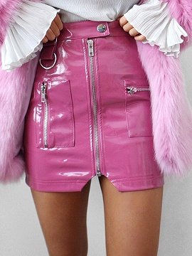 Pink High Waist Zip Front Leather Look Pencil Mini Skirt - Choies.com