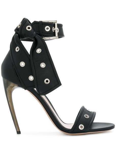 heel women sandals leather black shoes