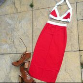 top,samanna chic,dress,set,top and skirt set,skirt set,crop tops,bandeau,bralette,red,skirt,red and white,summer