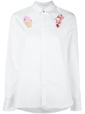 shirt embroidered women cotton red top