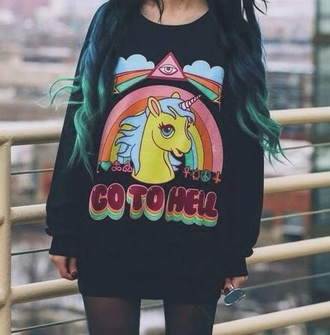 sweater sweatshirt black rainbow unicorn cute www.ebonylace.storenvy.com kawaii grunge go to hell grunge soft grunge pony unicorn shirt jersey little pony hell colorful hipster sweater soft ghetto kwaii