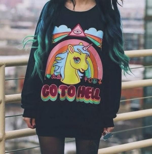 blouse rainbow sweater unicorn black t-shirt emo black sweater quote on it pastel goth kawaii black tumblr girl dark kawaii dark winter outfits winter sweater pastel pastel grunge illuminati it girl shop girl hipster sweatshirt grunge oversized sweater funny sweater
