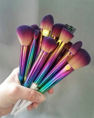 make-up brush rainbow face foundation face makeup face brush holographic