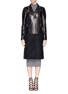 Lamb leather wool combo coat