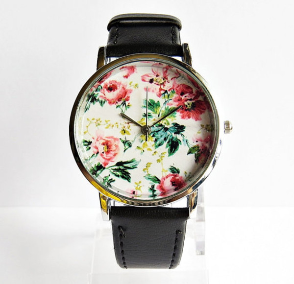 jewels floral cute pink gold silver freeforme watch