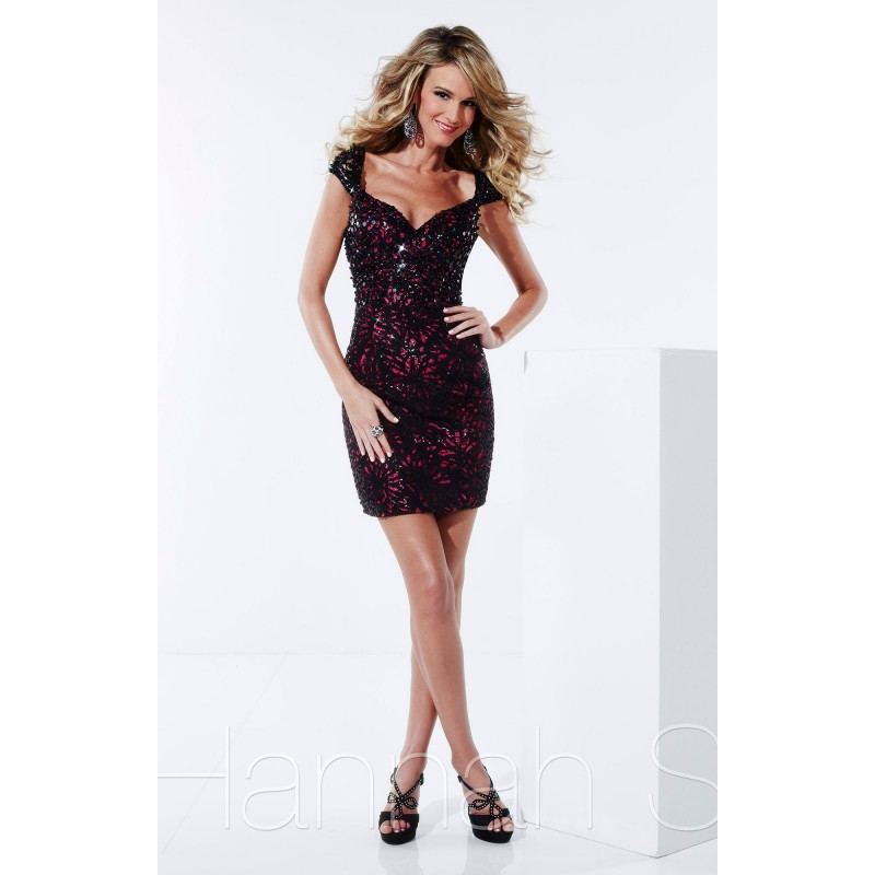 Black/Fuchsia Hannah S 27814 - Sleeves Cap Sleeves Short Open Back Sequin Dress - Customize Your Prom Dress