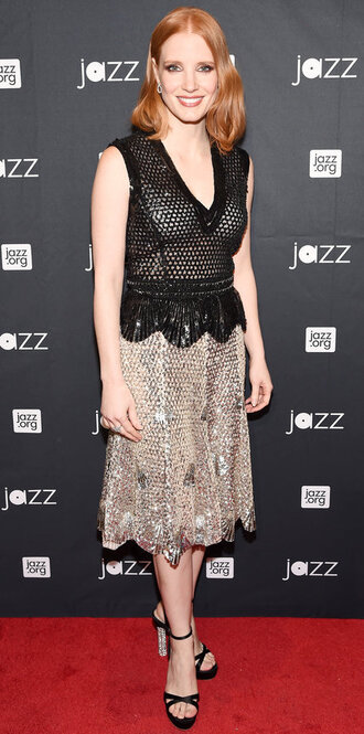 top skirt midi skirt sandals mesh jessica chastain metallic silver black top lace top black lace top sparkle pencil skirt chunky sole black heels