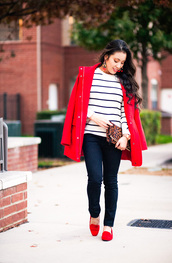 cute & little,blogger,sweater,coat,top,jeans,shoes,bag,jewels,red coat,winter outfits,striped sweater,clutch,loafers,red shoes,red loafers