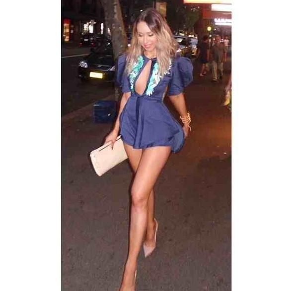 shorts romper blue sexy keyhole towie