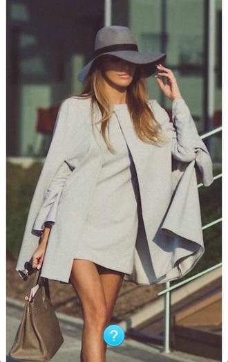 coat cape coat cape grey seventies mini dress hat floppy hat classic classy fall outfits