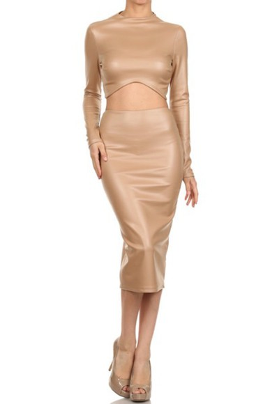 leather nude two-piece skirt crop tops
