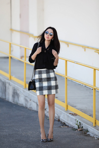 fit fab fun mom blogger plaid skirt fall skirt black blouse office outfits