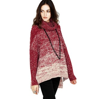 sweater loose high-necked batwing sleeves fashion style red sweater
