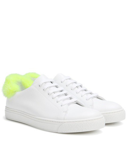 Anya Hindmarch Fur-trimmed Leather Sneakers in white